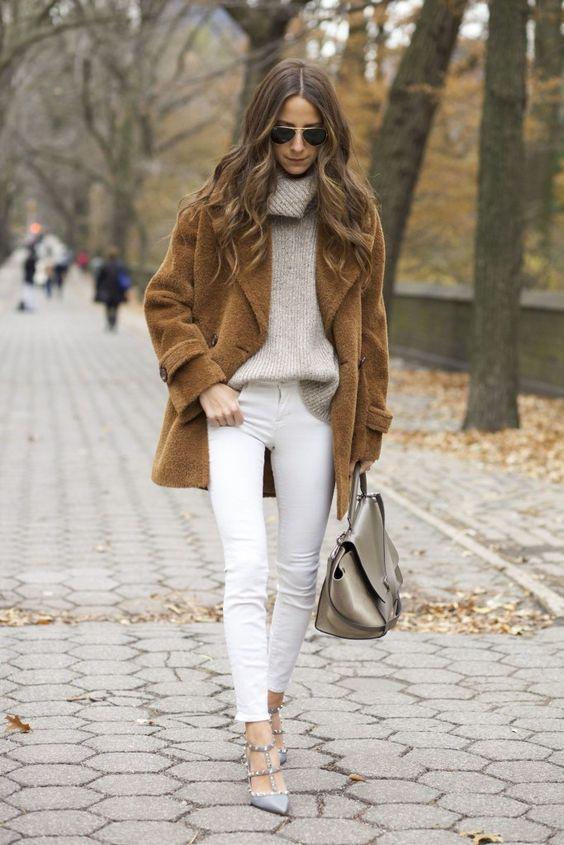 Porter le jeans blanc en automne?… Oui madame!