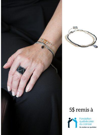 Bracelet délicat 4 tons avec cristal - coup de coeur Mal'OR
