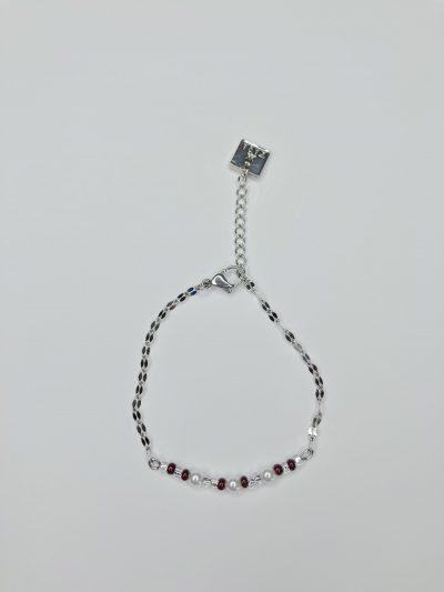 Bracelet délicat en inox avec perles Swarovski